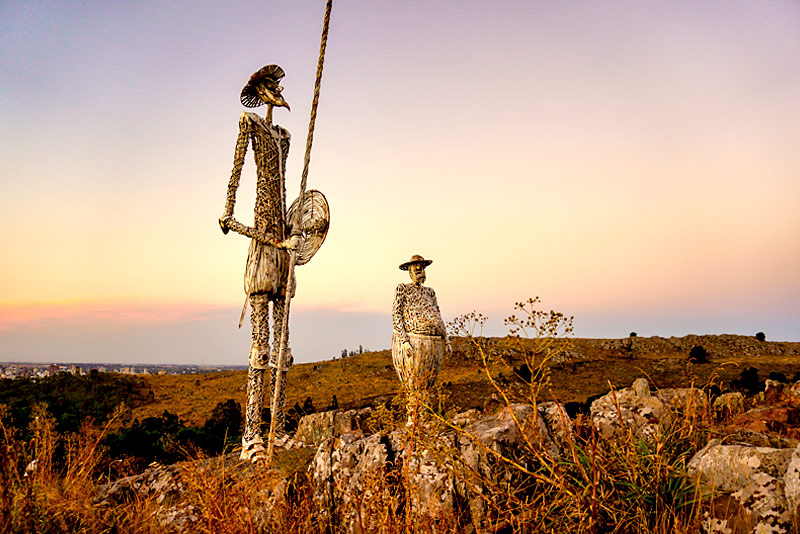 Don Quijote and Sancho Panza iron monuments. Located on the top of a hill near Tandil, Buenos Aires, Argentina.